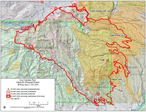 Las Conchas fire mapped by IR flight 0309 6-27-2011