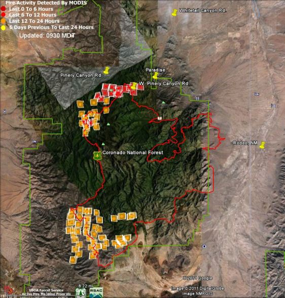 Map of Horseshoe 2 fire 0930 6-3-1011