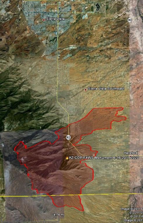 Map of Monument fire, 2020, 6-16-2011