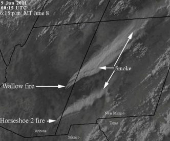Smoke from Wallow fire, from space 1815 MT 6-8-2011