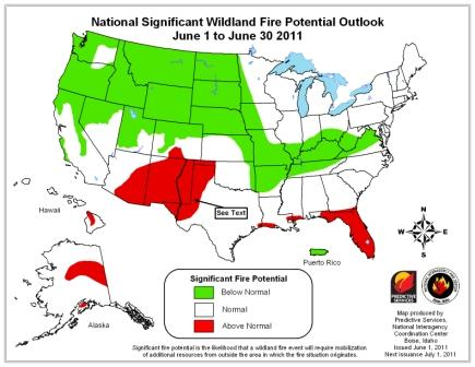 monthly wildfire potential outlook