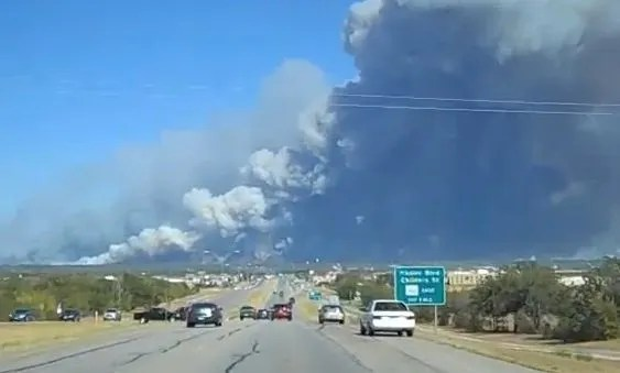 Bastrop fire screen capture from video