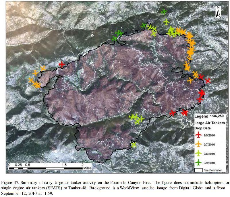 Map of air tanker drops, Fourmile Canyon fire