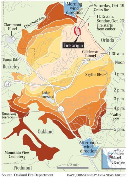 1991 Oakland Hills fire progression map