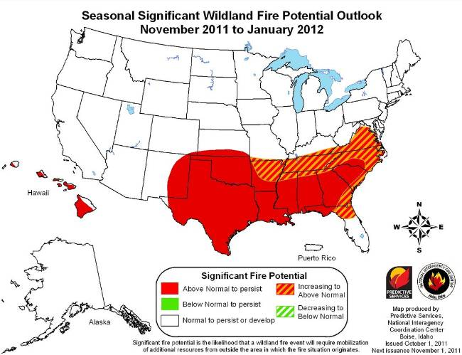 Wildfire outlook November 2011 through January 2012
