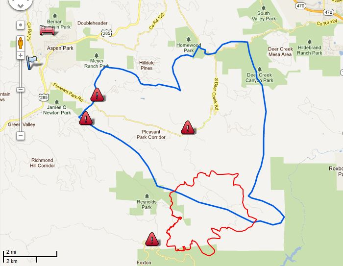 Map Lower North Fork Fire 2139 3-28-2012