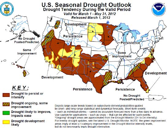 Seasonal drought outlook, March-May, 2012