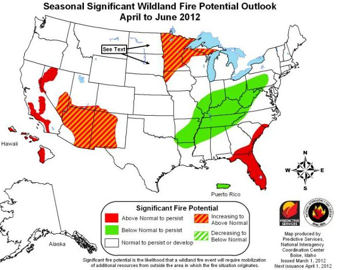 Wildfire outlook April-June, 2012