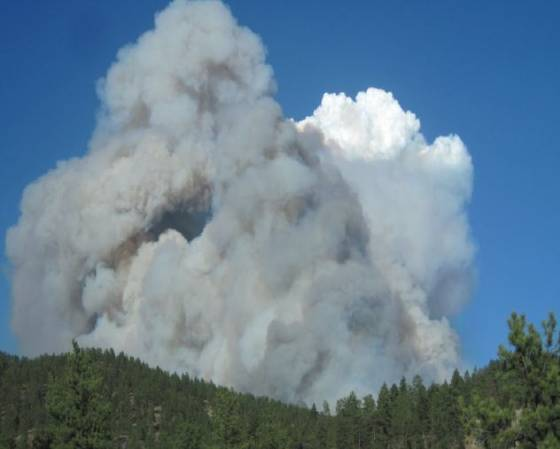 Lower North Fork Fire convection column March 26