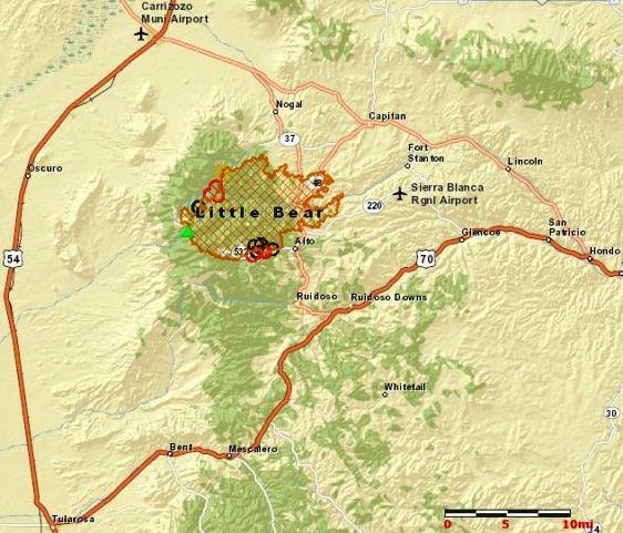 Map of the Little Bear Fire, June 14, 2012 MODIS