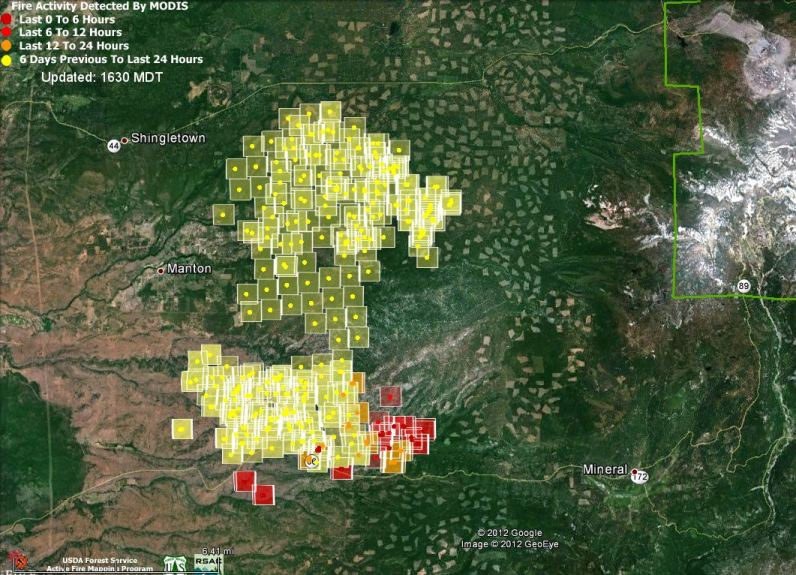 Map of Ponderosa Fire, 1:18 pm PT, August 22, 2012
