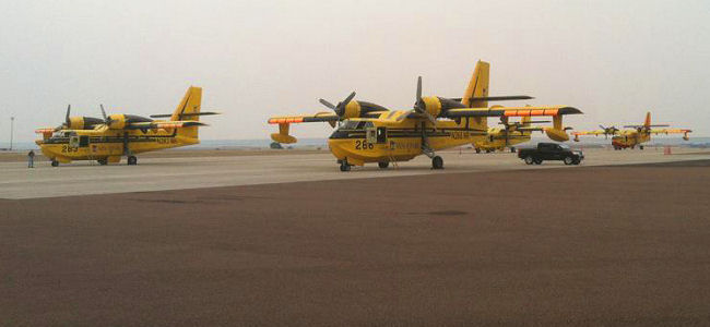 Four CL-215s on the ramp at Kalispell 08/10/2012