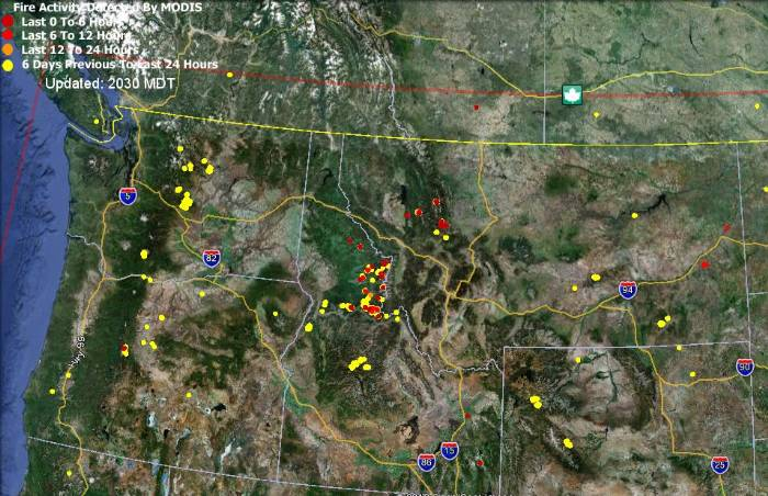 Map of wildfires detected by satellites, September 29, 2012