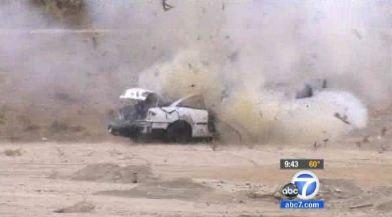 Car destroyed by exploding target