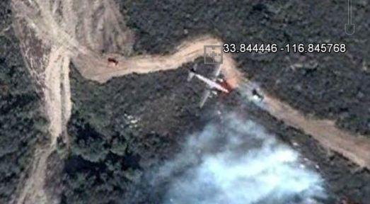 Google Earth shows air tanker over Esperanza Fire