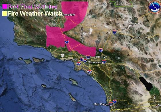 Red Flag Warning, Southern California, October 1, 2012