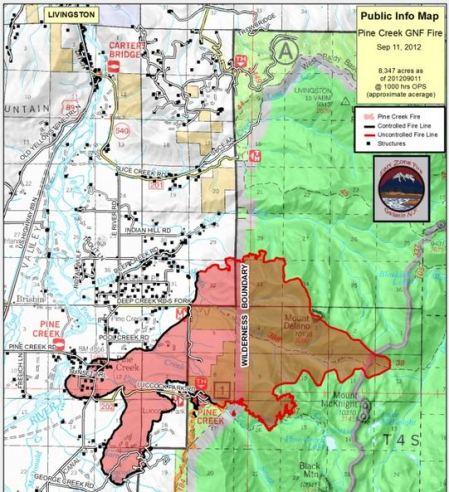 Map of Pine Creek Fire