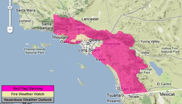 Red Flag Warning Southern California