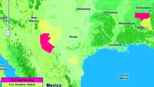 Red Flag Warnings, Texas and Alabama