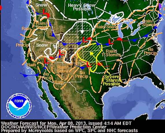 Weather forecast map 4-8-2013