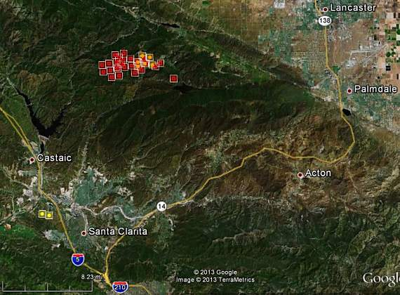 Santa Clarita Brush Fire Map.California Some Firefighters Released From The Powerhouse Fire