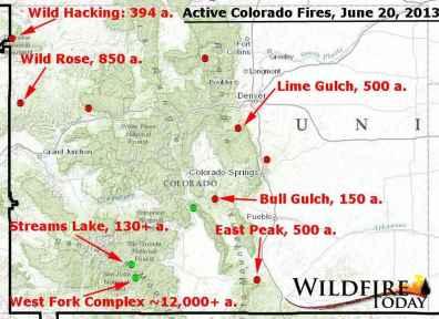 Map of Colorado wildfires, June 20, 2013