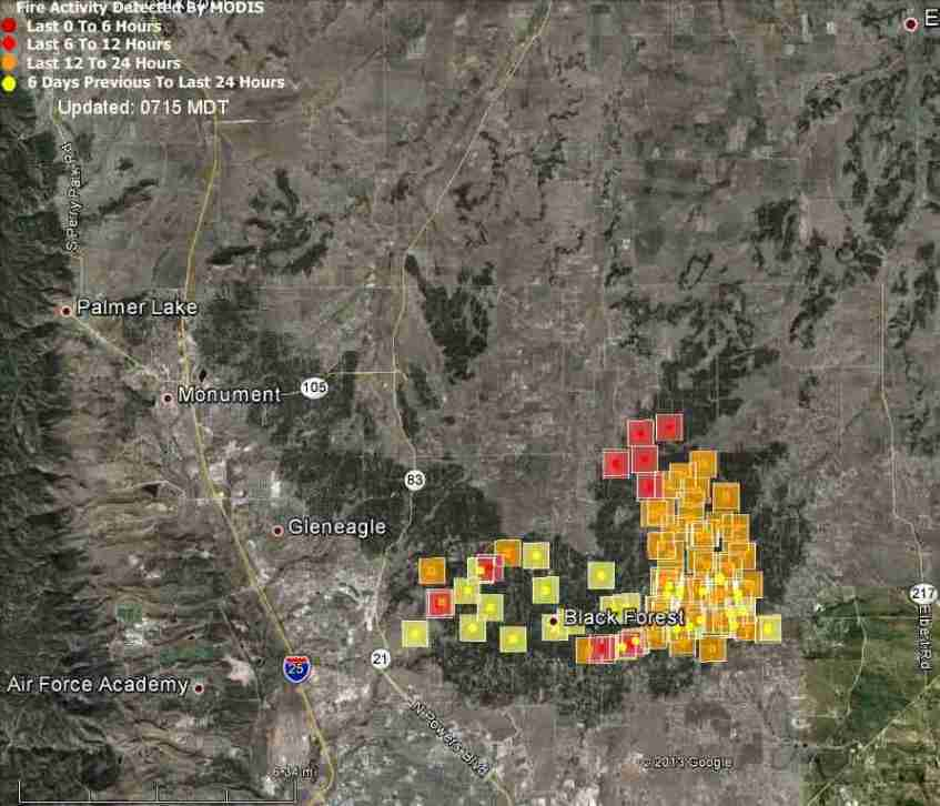 Map Of Black Forest Fire At 11 06 P M Mt June 12 2013 Wildfire