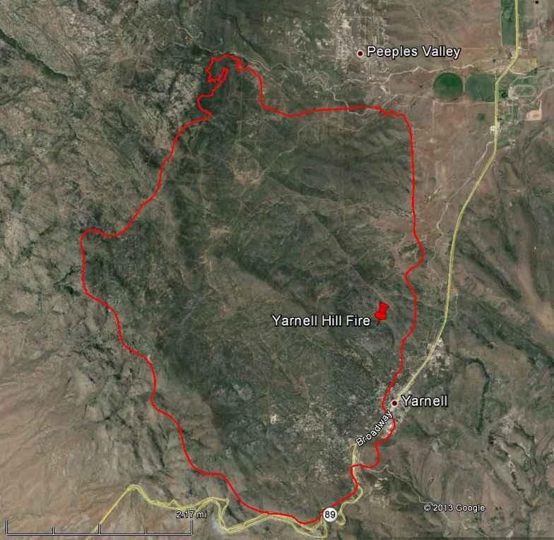 Map of Yarnell Fire, July 2, 2013