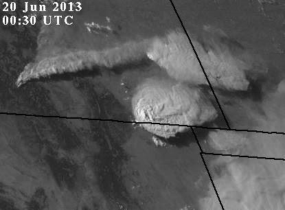 West Fork Fire plume, 0030 UTC, June 20, 2013