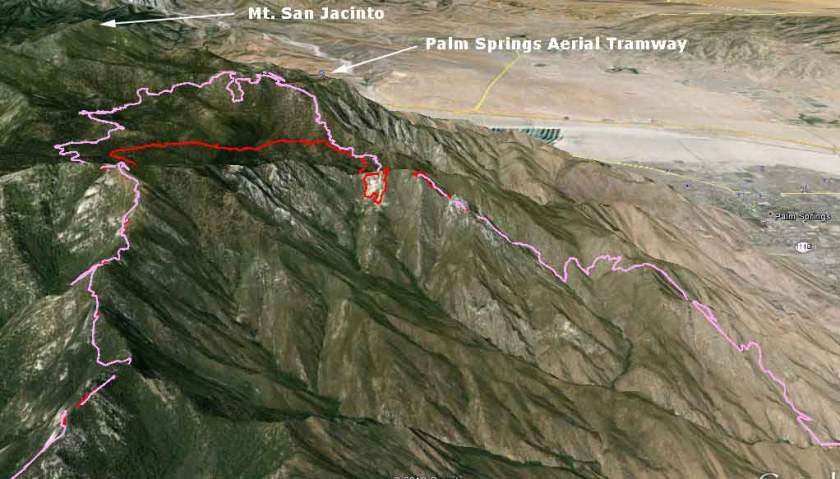 3-D Map of Mountain fire, perimeter,
