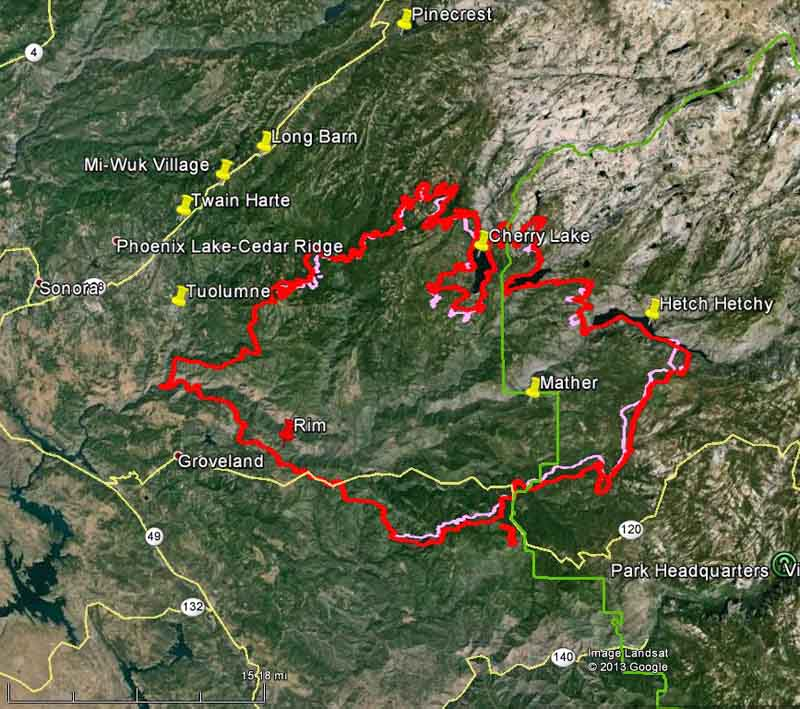 Map of Rim Fire at 1 a.m. PDT, August 30, 2013.