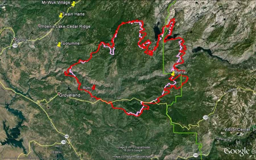 Map of Rim fire at 9 m  PDT, August 24, 2013