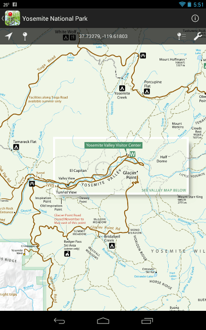 NPS maps and a few USFS maps available on your hand held device ...