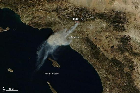 Smoke from the Colby Fire, as photographed by a NASA satellite