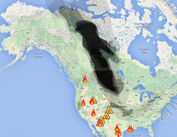 Wildfire smoke, July 3, 2014