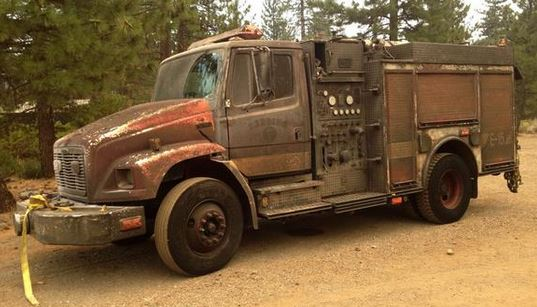 Redding FD engine damaged in Eiler Fire