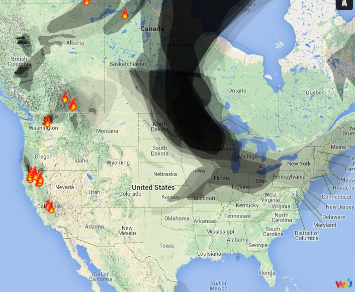 Wildfire Smoke Map August 1 2014 Wildfire Today