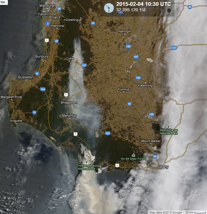 Satellite photo of two fires in Western Australia. The southern most one is near Northcliffe. Photo at 10:30 UTC, February 4, 2015. SSEC.