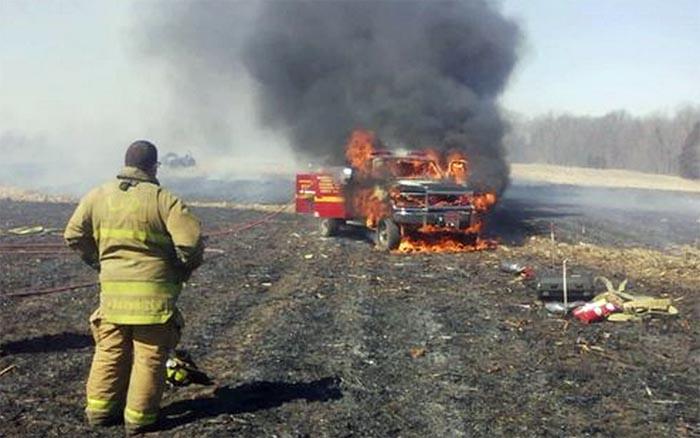 Liberty brush truck burns