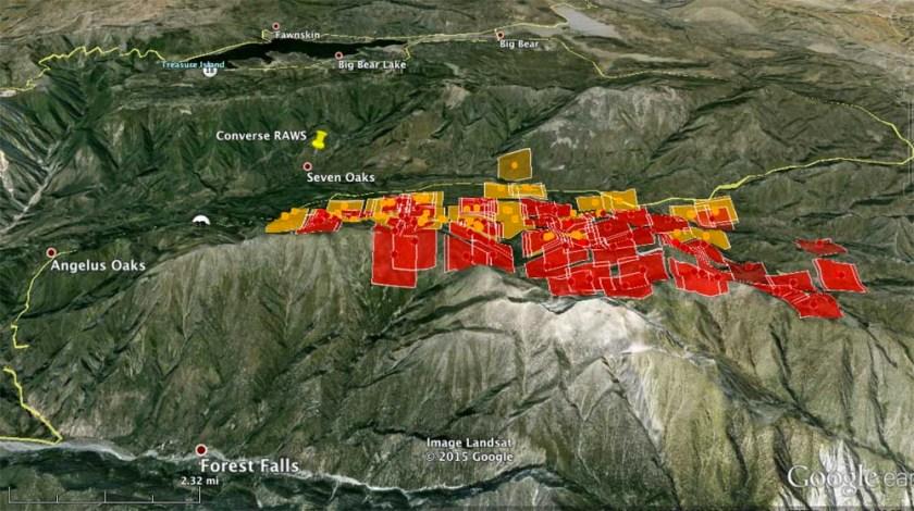 Lake Fire, 3-D map,