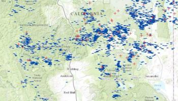 thousands of lightning strikes in northern california wildfire today