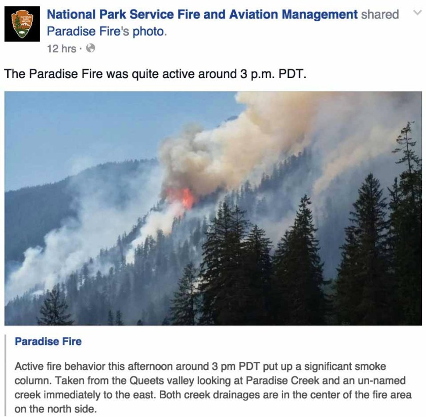Paradise Fire July 2, 2015