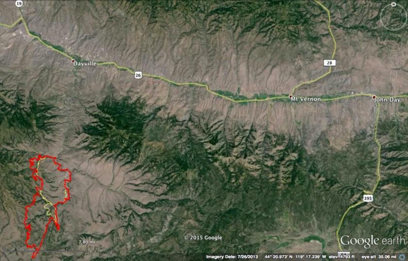 map Corner Creek Fire