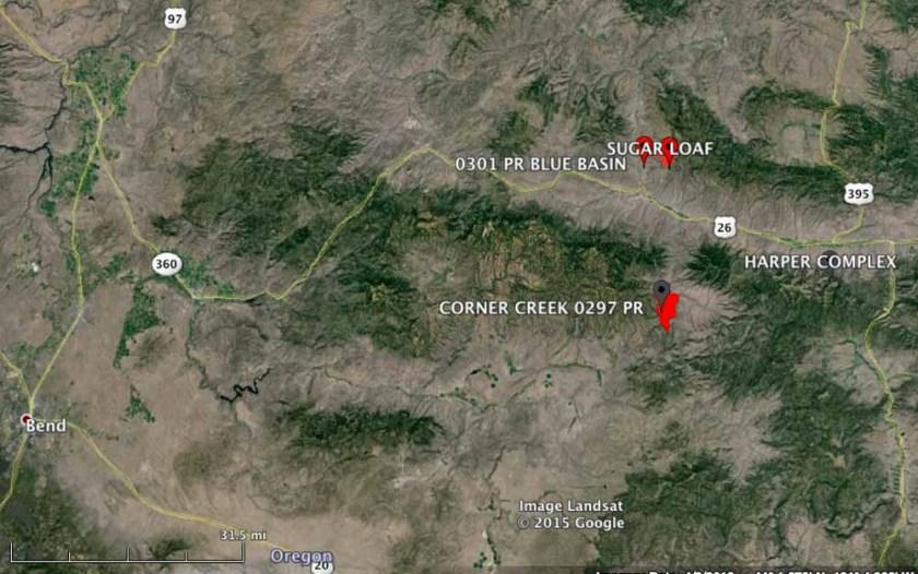 Corner Creek Fire map 10 pm PT June 30, 2015