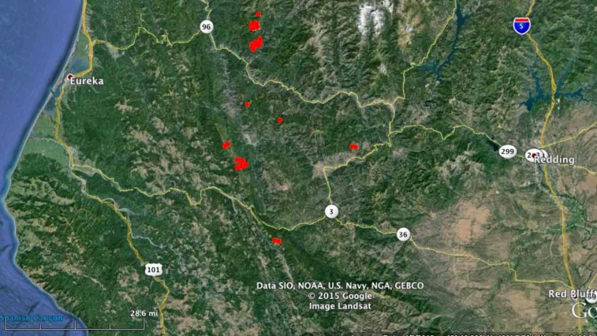 Map Fires west of Redding