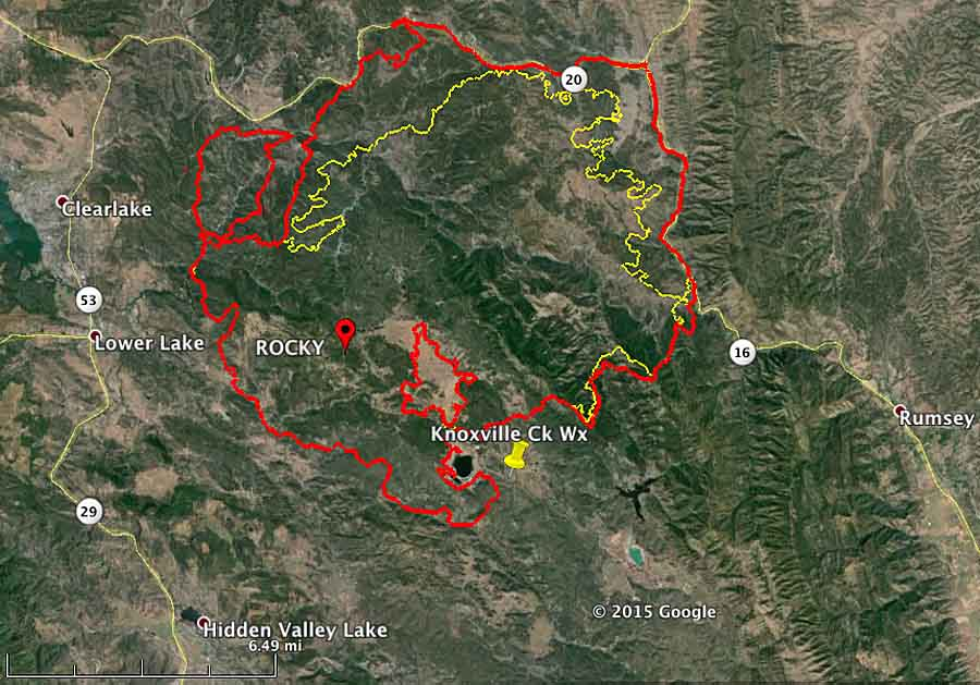 Rocky Fire East Of Clearlake California Wildfire Today
