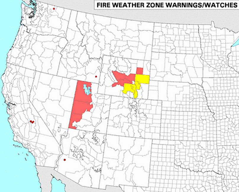 wildfire Red Flag Warnings 9-5-2015