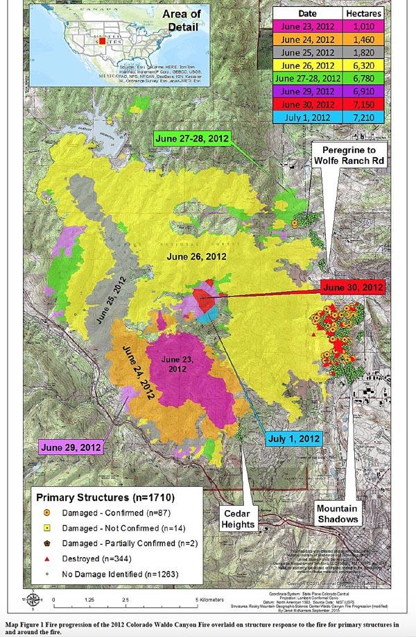 waldo canyon fire progression map