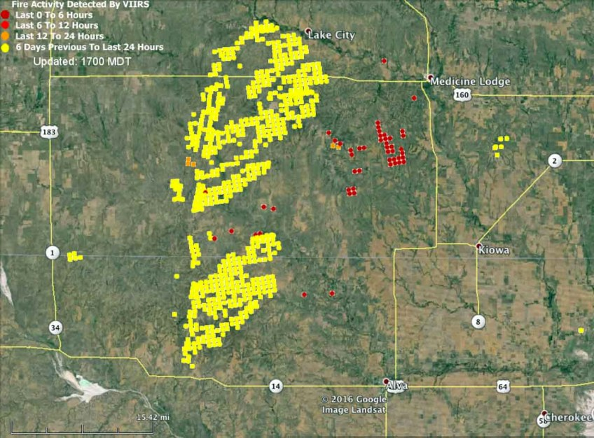 Kansas Oklahoma fire map at 225 pm CDT 3 24 2016   Wildfire Today