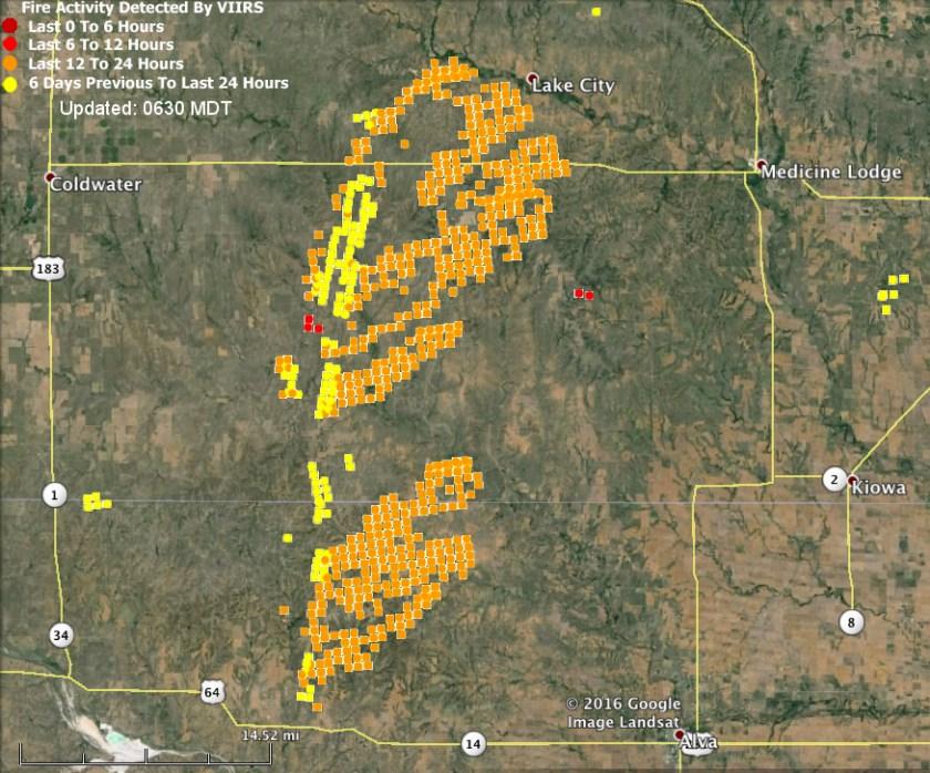 map fire Kansas Oklahoma
